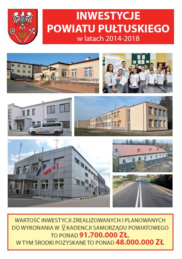 Broszura Inwestycje Powiatu Pułtuskiego w latach 2014-2018