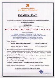Spotkania informacyjne (II tura) dot. budowy obwodnicy Pułtuska w ciągu drogi krajowej nr 61