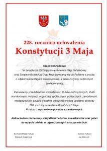Przyłącz się do uświetnienia obchodów 228. rocznicy uchwalenia Konstytucji 3 Maja i Święta Flagi Państwowej