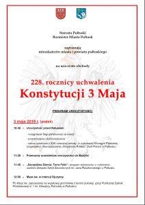 Zaproszenie na uroczyste obchody 228. rocznicy uchwalenia Konstytucji 3 Maja