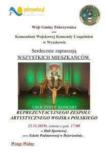 Informacja o koncercie Reprezentacyjnego Zespołu Artystycznego Wojska Polskiego