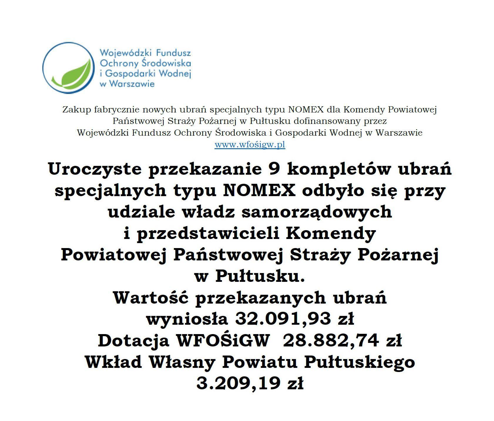 Przekazanie 9 kompletów ubrań specjalnych typu NOMEX