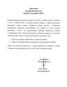 Informacja Komisji Konkursowej