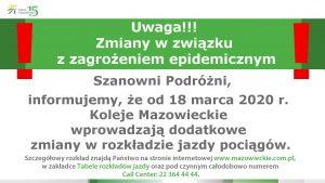 Informacja Kolei Mazowieckich o wprowadzeniu dodatkowych zmian w rozkładzie jazdy pociągów