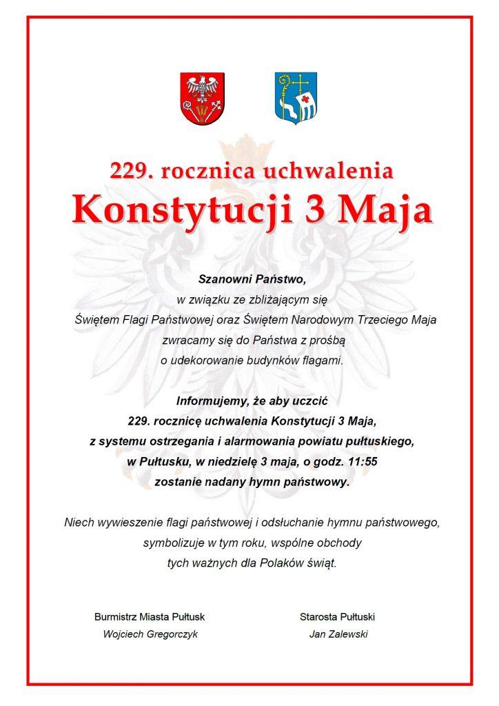 Informacja - 229. rocznica uchwalenia Konstytucji 3 Maja