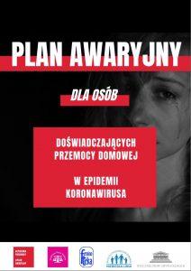 Osobisty plan awaryjny dla osób doświadczających przemocy domowej w czasie epidemii koronawirusa - Plakat