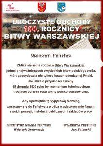 Apel o wywieszenie flag - 100 rocznica Bitwy Warszawskiej