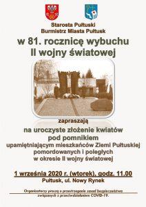 Plakat - 81. rocznica II wojny światowej