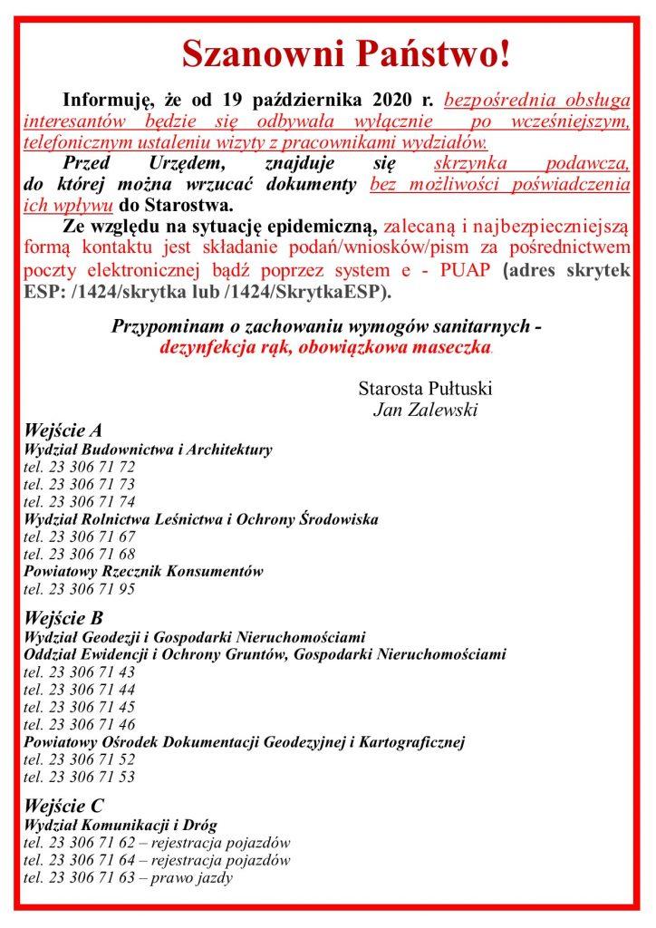 Informacja o pracy Urzędu od 19 października 2020 r