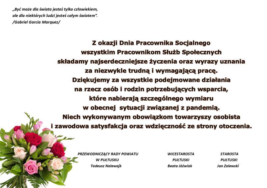 Życzenia z okazji Dnia Pracownika Socjalnego