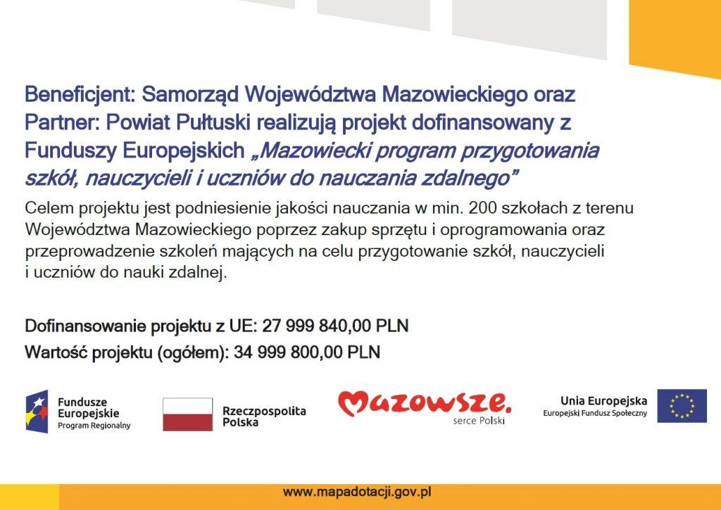 """Plakat """"Mazowiecki program przygotowania szkół, nauczycieli i uczniów do nauczania zdalnego"""""""