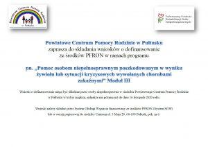 """Informacja o programie """"Pomoc osobom niepełnosprawnym poszkodowanym w wyniku żywiołu lub sytuacji kryzysowych wywołanych chorobami zakaźnymi"""""""