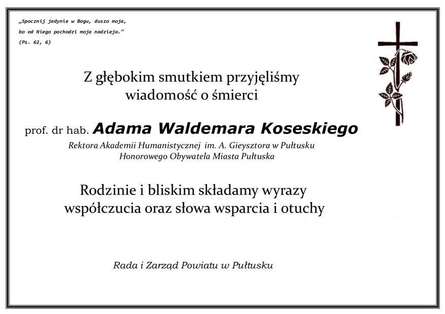 Kondolencje z powodu śmierci Rektora Adama Waldemara Koseskiego
