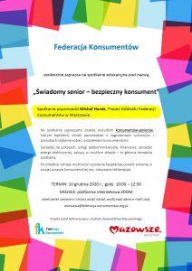 Plakat - Spotkanie edukacyjne online - Świadomy senior – bezpieczny konsument