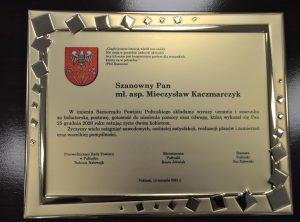 odziękowania za bohaterską postawę dla mł. asp. Mieczysława Kaczmarczyka