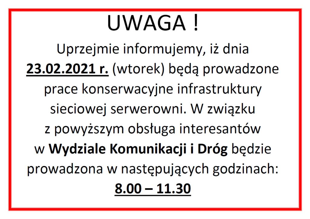 Informacja - obsługa interesantów w Wydziale Komunikacji i Dróg