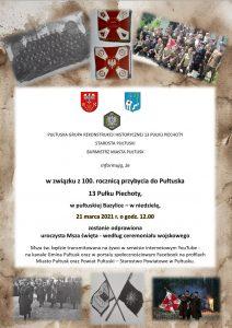 Plakat 100. rocznica przybycia do Pułtuska 13 Pułku Piechoty