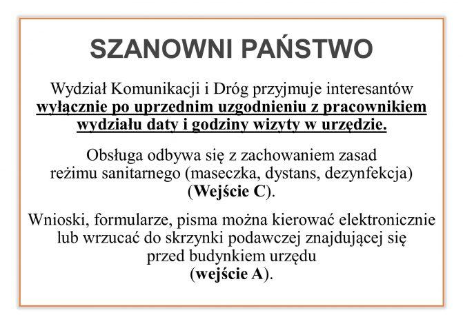 Informacja o pracy Wydziału Komunikacji i Dróg