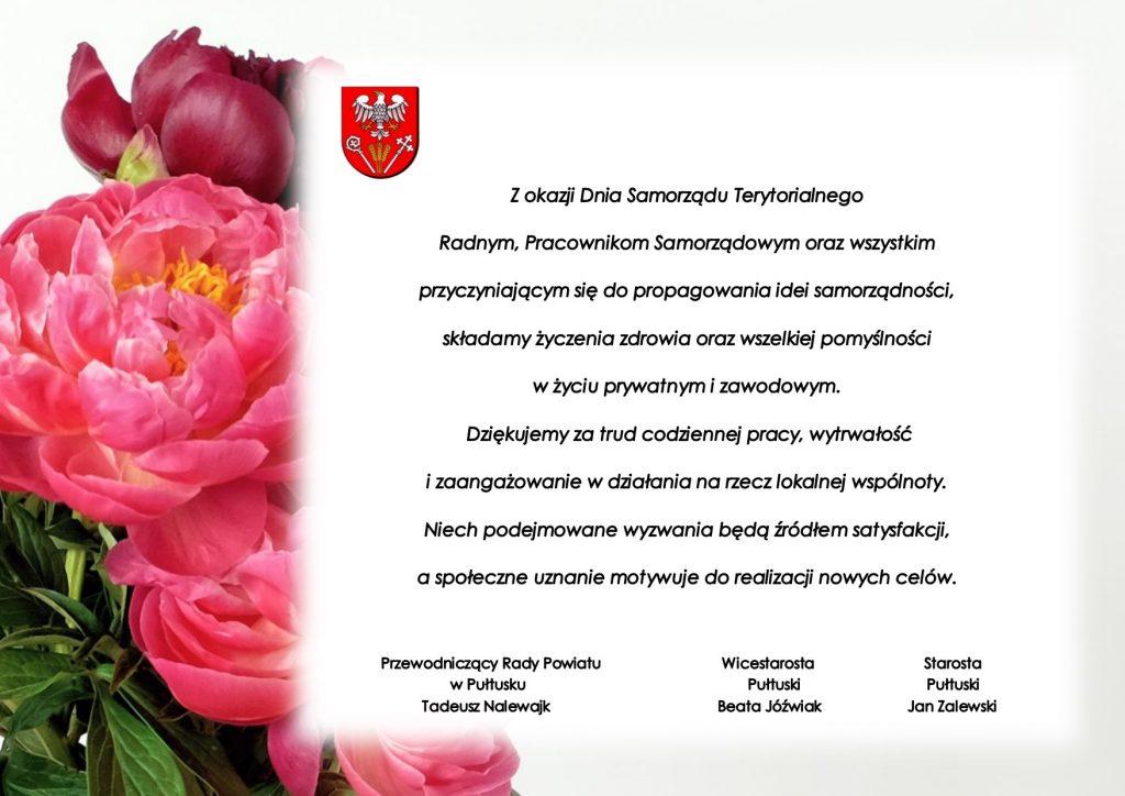 Życzenia z okazji Dnia Samorządu Terytorialnego